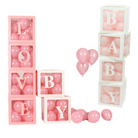4pcs/set DIY Transparent Box Latex Balloon BABY LOVE Blocks for Boy Girl Baby Shower Wedding Birthday Party Decoration Backdrop