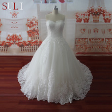 HW091 Sweetheart Applique Zipper A Line Sweep Train Charming Button Lace Wedding Dress 2016