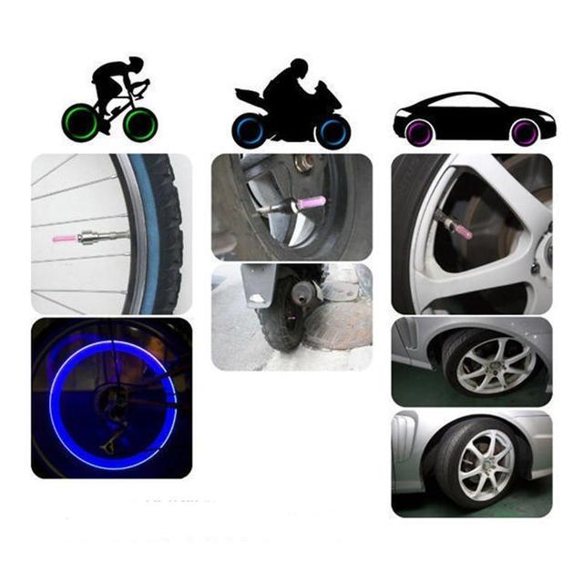 Car Wheel Light Mountain Bike LED Light Tire Valve Cap Decorative Lantern Tire Valve Cap Spoke Neon Lamp