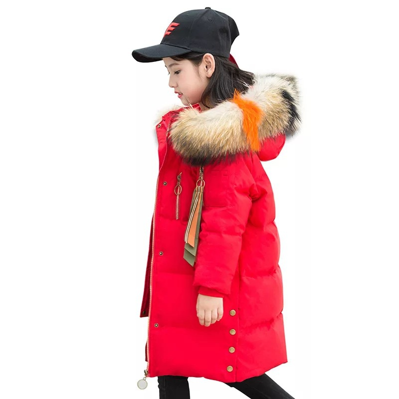 Children Girls Winter Coat 2018 Fashion Fur Hooded Thick Cotton Down Warm Clothes Long Kids Parka Jacket Outwear Size 8 10 12 14 bekoshine fashion ladies coats army green 2016 winter coat parka long thick warm down cotton jacket women jackets and outwear