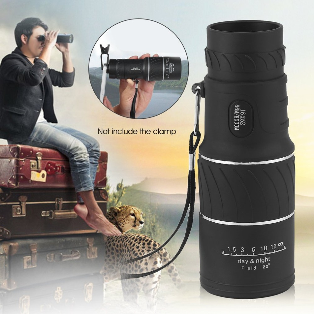 16x52 Telescope Hd Vision 66m/8000m Waterproof Monocular Smartphones Camera Coating Magnifier+bag Outdoor Hunting Pure White And Translucent