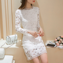 2xl plus big size women clothing dress 2016 spring autumn korean vestidos sexy thin hollow out white lace dress female A1338
