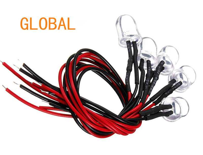 Купить с кэшбэком 9V~12V LED 3mm Pre-Wired Prewired Ultra Bright Colours Light Lamp Bulb LED Set Light Lamp Bulb white 20cm Prewired 100pcs/lot