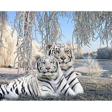 White Tiger diamond Embroidery diy painting mosaic diamant 3d cross stitch pictures H507