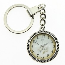 High Quality 25mm Vintage Clock Dial Glass Cabochon Keyring Keychain Jewelry For Women Fashion