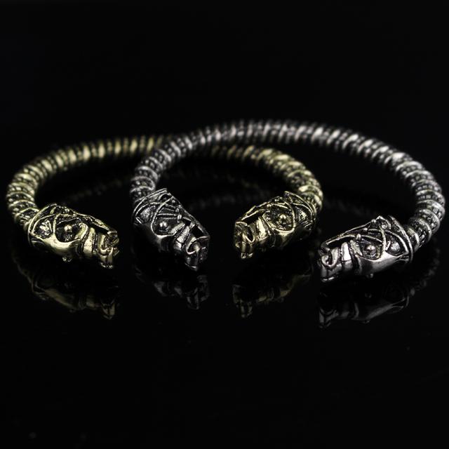 VIKING WOLF BRACELET Two Headed Wolf Fenrir Logo Mens Brand Vintage Bracelets & Bangles Pagan Bangle Wristband Norse Nordic