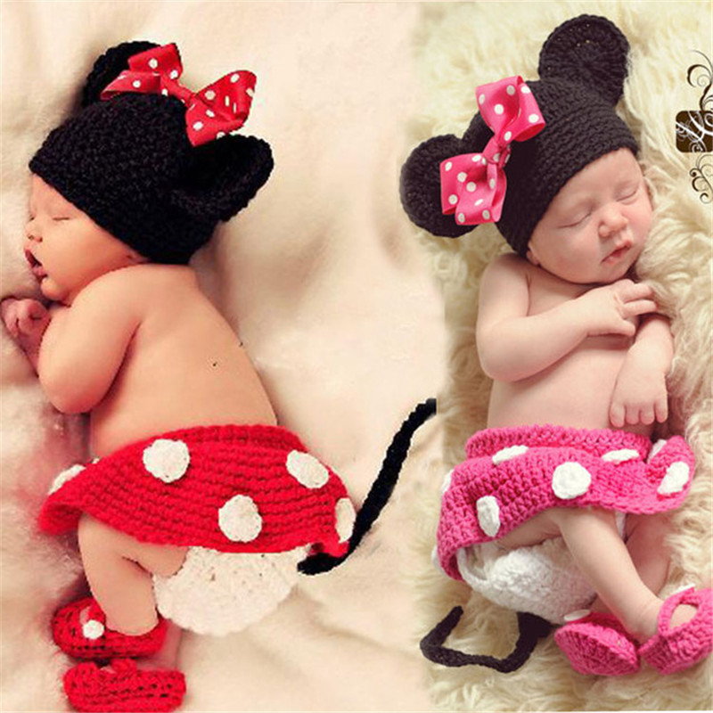 Baby Hat Mermaid Newborn Photography Props Girls Crochet Knitted Cap Beanie Bear Photo Costume Props Hats 0-6M Accessories