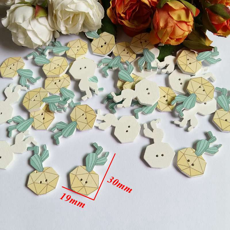 DIY Cactus potted plant Buttons scrapbooking sewing clothing Handicrafts 30mm