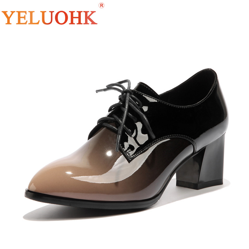 33-43 2018 Spring Shoes Women Heels Patent Leather Shoes Heel Women High Quality Women Pumps High Heels Big Size 5.5 CM цена