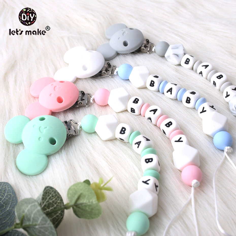 Lets Make 1PC Baby Teether Customize Baby Name Silicone Beads Bear Pacifier Clip Hex Geometric Beads Pacifier Chain Nurse Gift