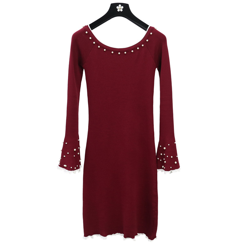 2018 New Autumn Women Beading Sweater Dress Slash Neck Knitted Dresses Ladies Flare Sleeve Sheath Dress Vestidos Pz855 Curing Cough And Facilitating Expectoration And Relieving Hoarseness Women's Clothing