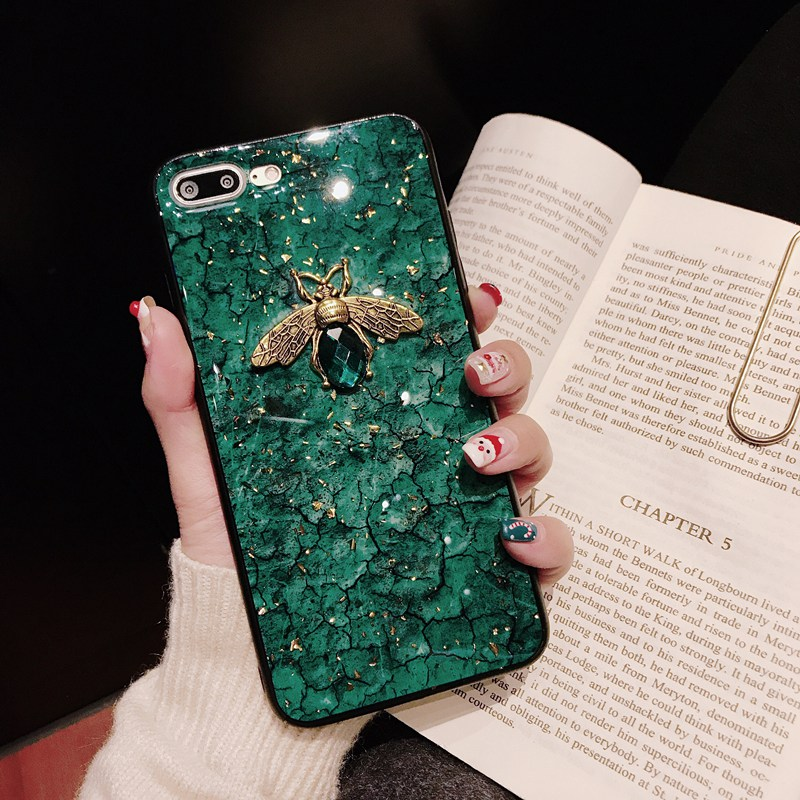 Luxury diamond metal Marble glitter bee silicone phone case for xiaomi 8 9 lite se 5s plus note3 5 6 X mix 2 2s 3 max 2 3 paly in Fitted Cases from Cellphones Telecommunications