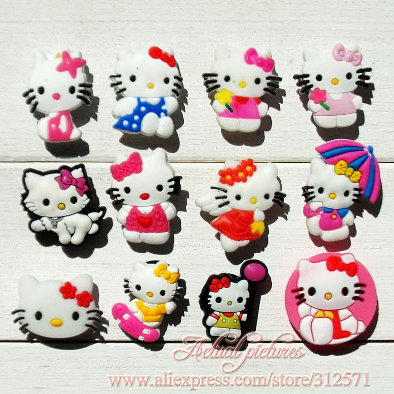 цены  Free Shipping 12pcs/lot HELLO KITTY shoe decoration/shoe charms/shoe accessories  for clogs hyb007-08