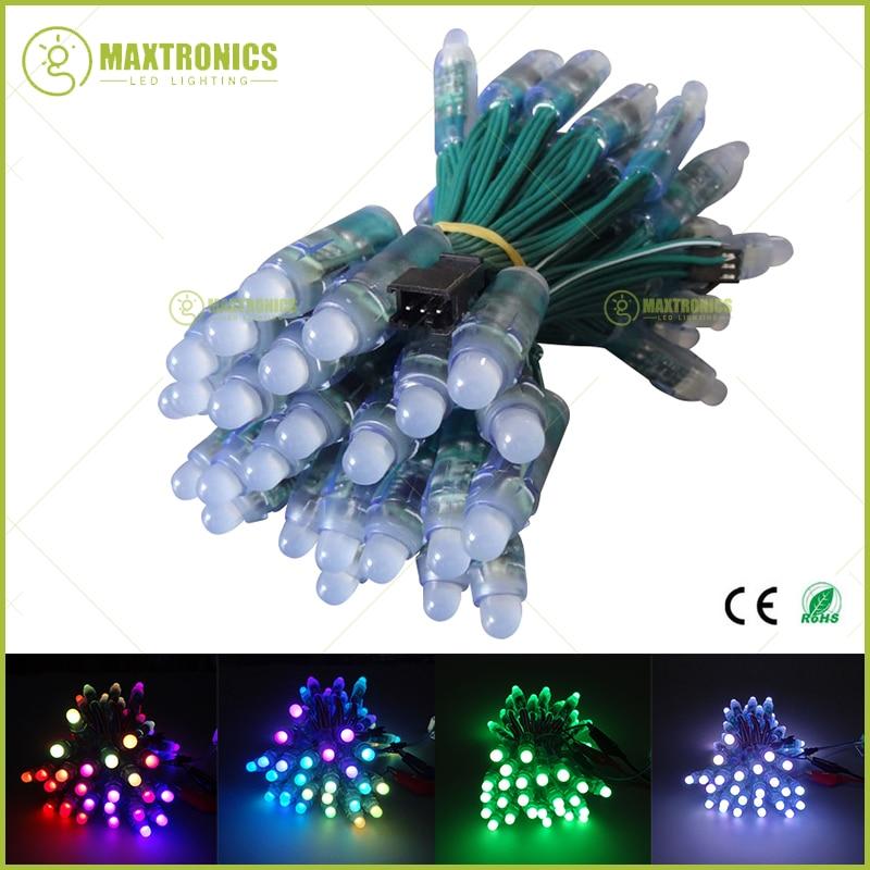 50pcs-dc5v-dc12v-12mm-ws2811-ic-rgb-led-module-string-green-wire-waterproof-ip68-digital-full-color-led-pixel-light