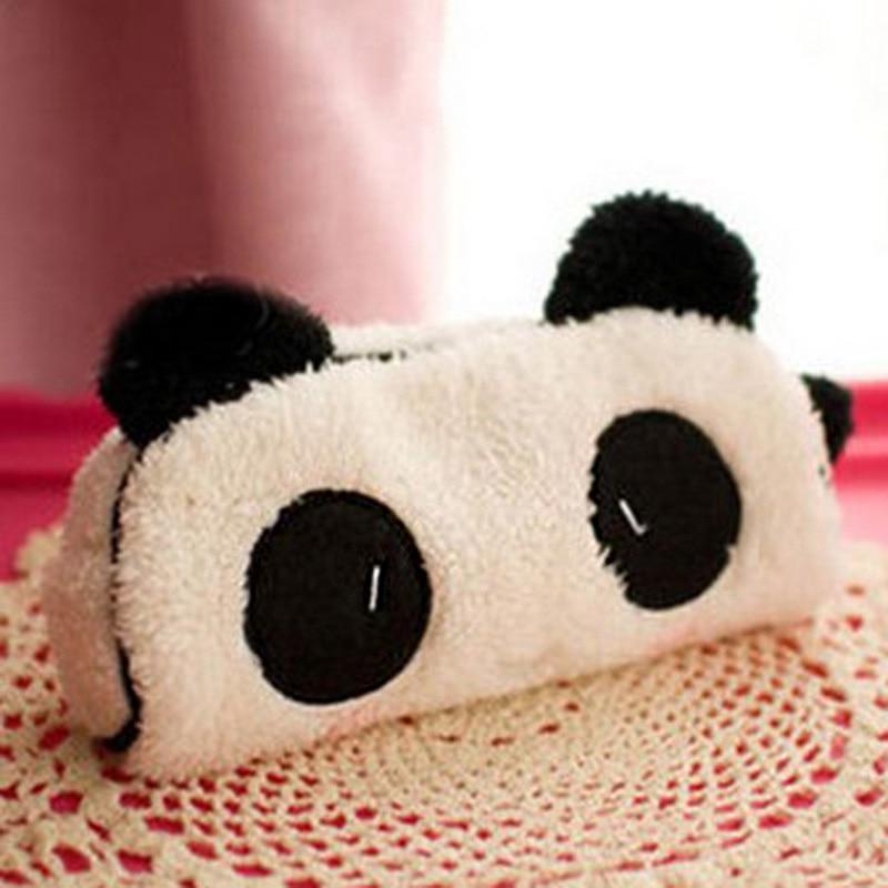 Korean Cute 3D Plush Panda Pencil Case Kawaii Noverty Cheap Big Large Capacity Multifunction Pen Bags For Kids School Stationery