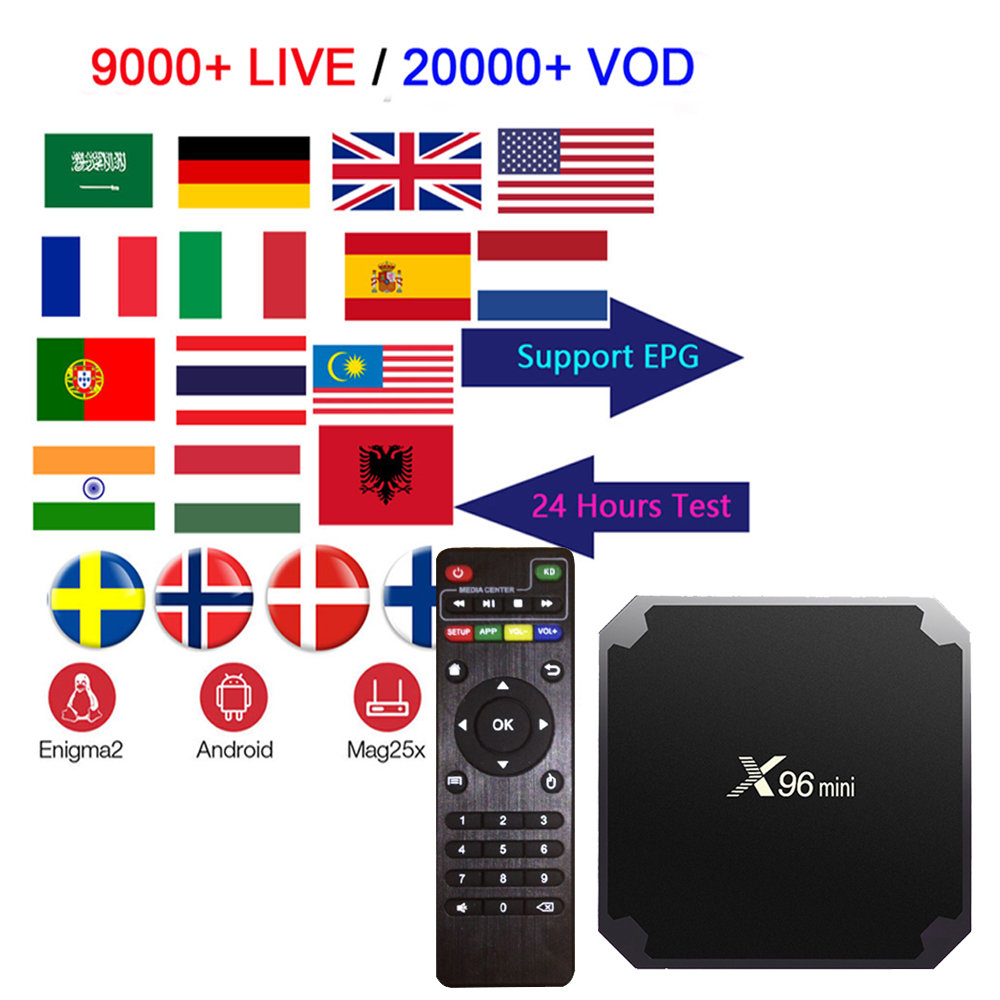 X96mini Amlogic S905W  Android 7.1 Smart TV BOX With Iptv Subscription Arabic UK USA Italy French Spain Sweden Iptv 9000+live