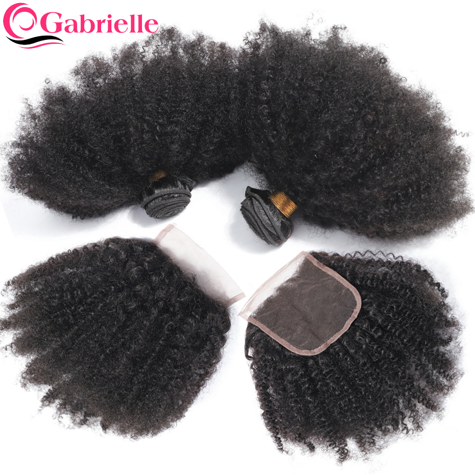 Afro Kinky Curly Bundles with Closure Gabrielle Remy Human Hair Bundles with Closure Brazilian Hair Weave Bundles With Closure-in 3/4 Bundles with Closure from Hair Extensions & Wigs    1