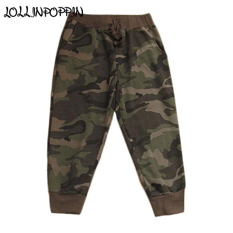 Casual Pants Calf-Length Military-Style Camo-Pattern Waist Elastic Womens Ladies