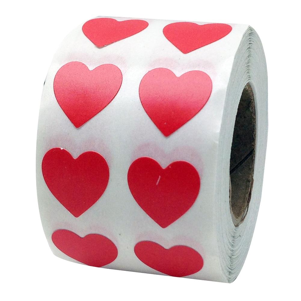 Рулон Любовь Сердце этикетки наклейки свадебный подарок упаковка герметизация Искусство Наклейка упаковка мешок - Цвет: Красный