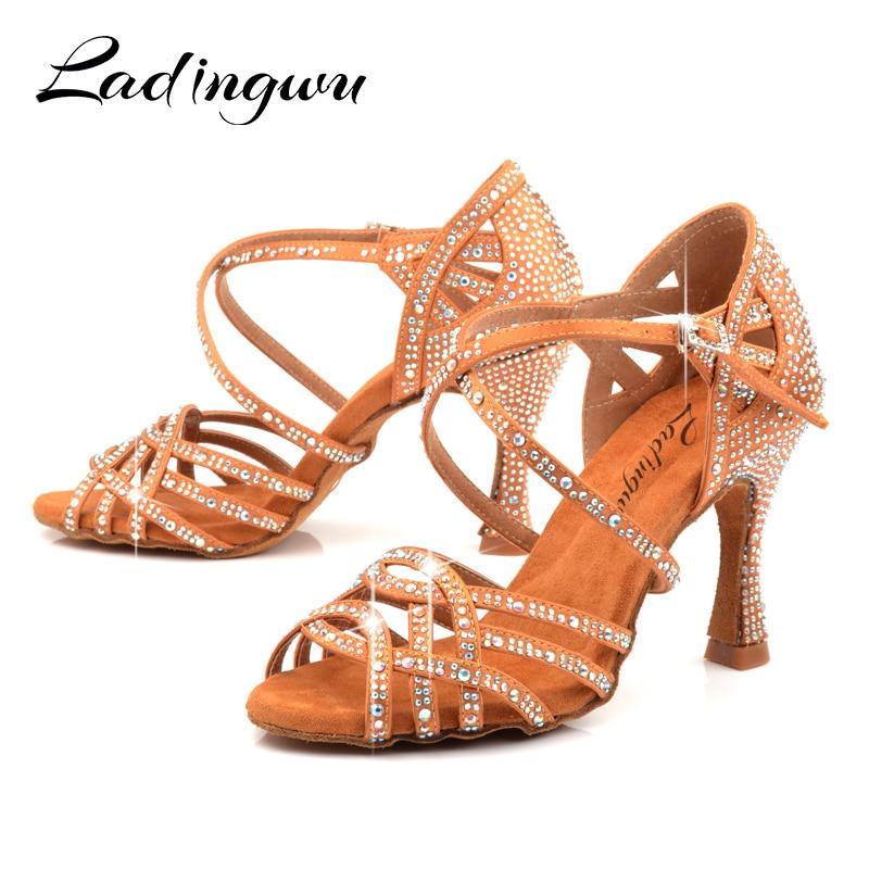 Ladingwu Latin Dance Shoes Girls Ballroom Dance Shoes Square Dance Shoe For Women Ladies Salsa Shoes High Heel Soft Comfortable