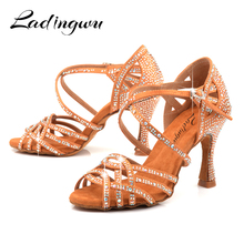 Ladingwu Latin Dance Shoes Girls Ballroom Dance Shoes Square Dance Shoe For Women Ladies Salsa Shoes High Heel Soft Comfortable free shipping ladies high heel orange dance shoes salsa latin competition crystal dance shoes