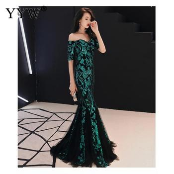 Green Leaf Sequined Off Shoulder Evening Dresses Luxury Sexy Robe De Soiree Long Mermaid Party Dress Elegant Cocktail Clubwear 5