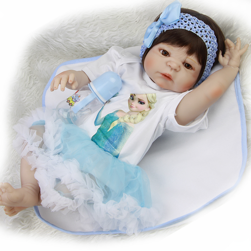 NPK Hot Sale Toys Full Silicone Vinyl Reborn Baby Dolls Truly Realistic 23'' Waterproof Babies Doll For Girl Christmas Gifts hot sale 12cm foreign chavo genuine peluche plush toys character mini humanoid dolls