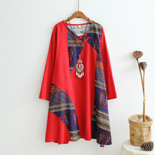 High Quality Cotton Linen Comfortable Casual Dress New 2017 Fashion China Vintage Style Long Sleeve Women