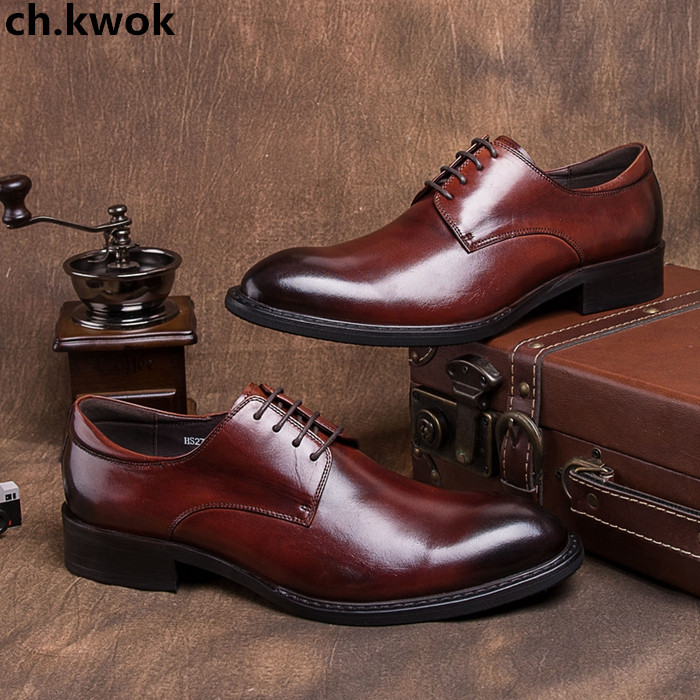 CH.KWOK Mens Business Formal Suits Tuxedo Oxfords Shoes Lace Up Mens Leather Evening Party Wedding Low Top Sneakers Oxfords top quality crocodile grain black oxfords mens dress shoes genuine leather business shoes mens formal wedding shoes