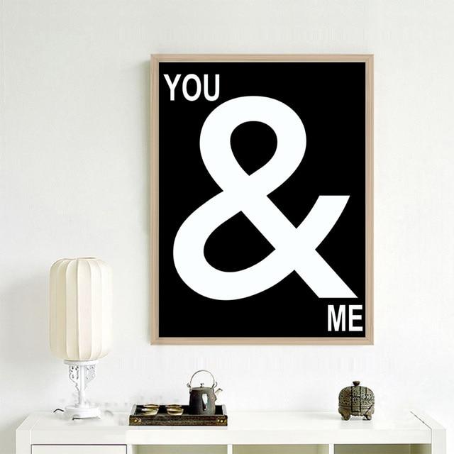 Moderne Wandkunst Poster Sie U0026 Me Liebe Zitat, Weiß Schwarz Leinwand  Gemälde Für Wohnzimmer Schlafzimmer