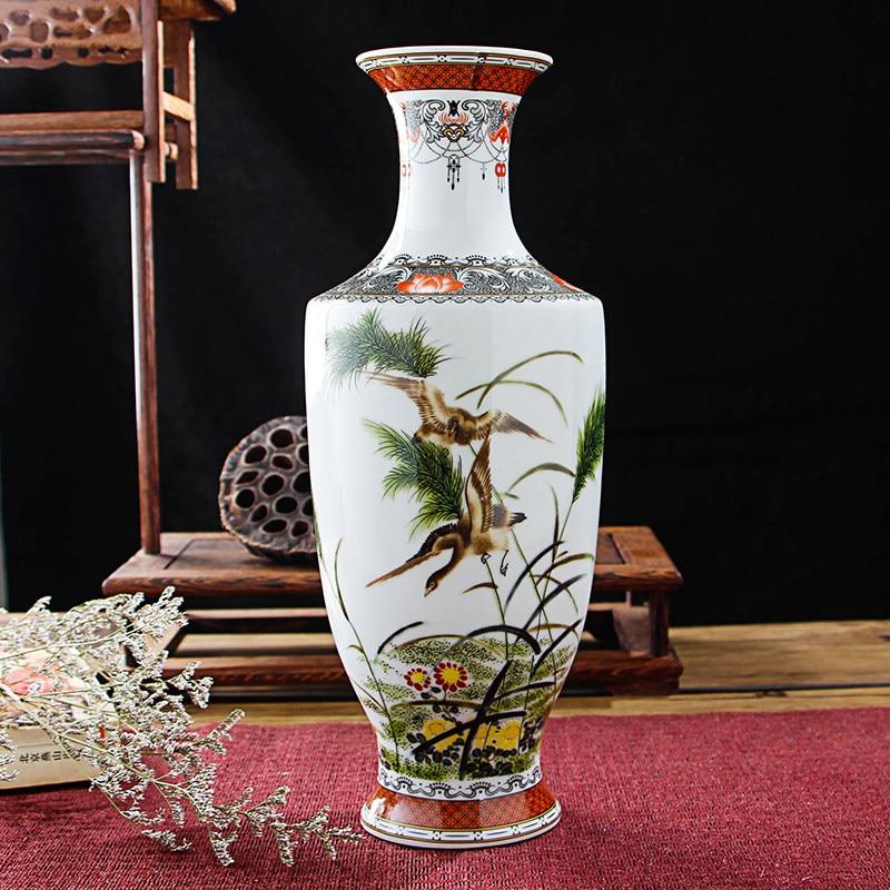 Oussirro Jingdezhen Ceramic Vases Pottery Decoration Living Room Flower Arrangement Modern Home Simple Tv Cabinet Ceramic Gift