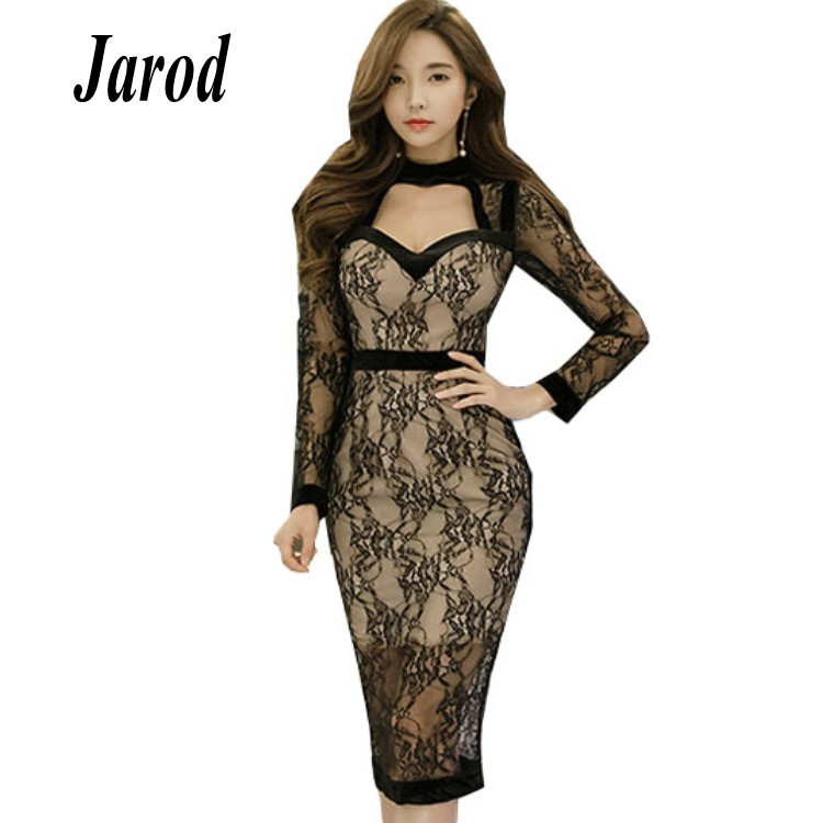 <font><b>2018</b></font> Autumn Lace Patchwork Black <font><b>Sexy</b></font> V-Neck Vestidos Women Knee-Length Midi Pencil Bodycon Office <font><b>Work</b></font> <font><b>Dress</b></font> image
