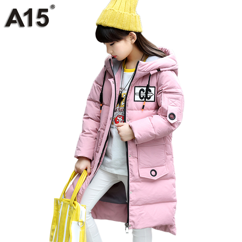A15 Girls Down Thick Jacket Toddler Girl Clothing Winter 2018 Long Children Down Coats Warm Outerwear Coat Parka Age 8 10 12 14Y high quality children winter outerwear 2017 baby girls down coats jacket long style warm thickening kids outdoor snow proof coat