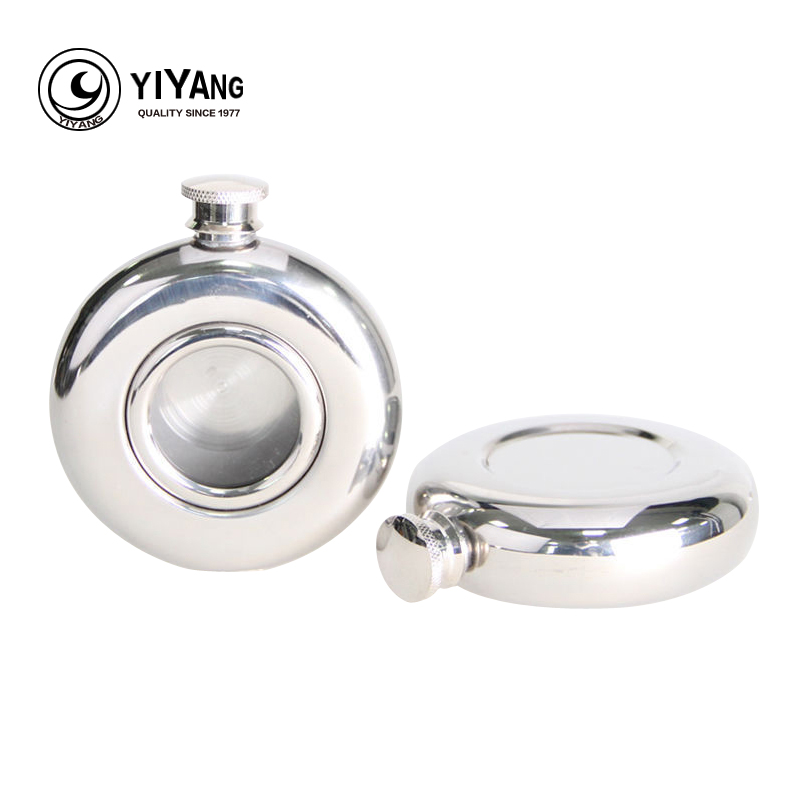 5oz rounded Portable With without glass Stainless steel hip flask rum whisky wine pot vodka alcohol flasks Flagon