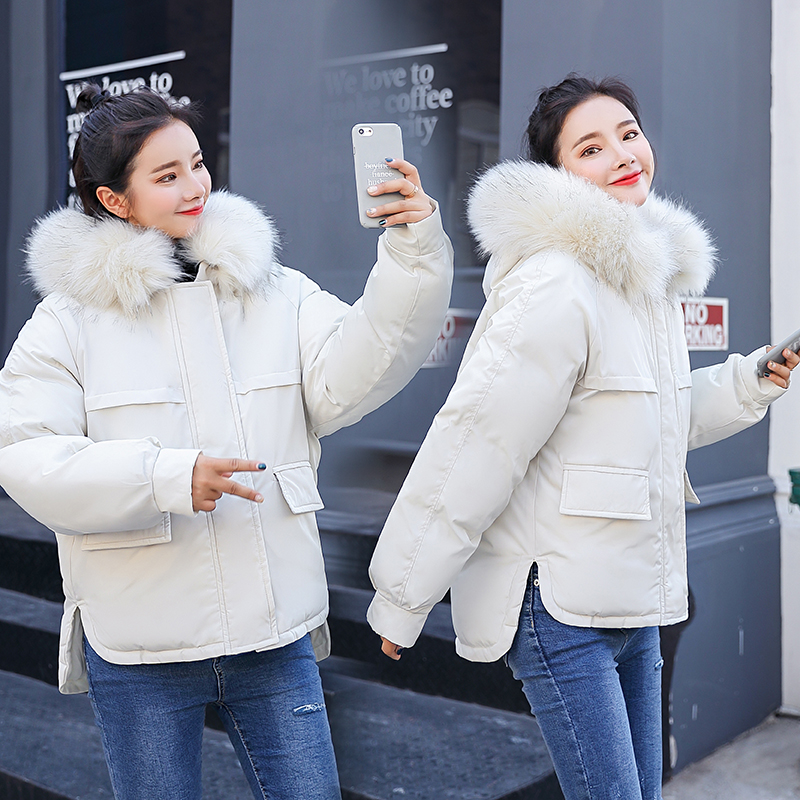 Winter women jacket coat Thick warm big fur collar oxford fabric windproof short   parkas   coat Sintepon padded jackets outwear