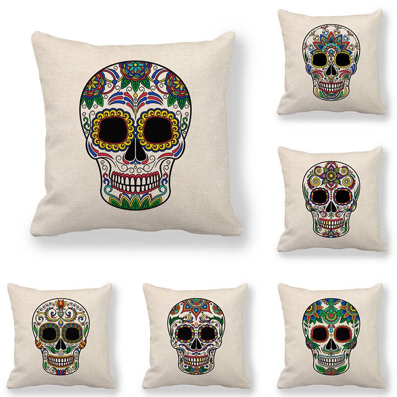 45cm 45cm Cushion cover skull linen cotton pillow case sofa and Home decorative pillow cover in Cushion Cover from Home Garden