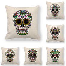 45cm*45cm Cushion cover skull linen/cotton pillow case sofa and Home decorative pillow cover good mood watercolor circle with cross cotton and linen pillow case(without pillow inner)