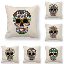 45cm*45cm Cushion cover skull linen/cotton pillow case sofa and Home decorative pillow cover