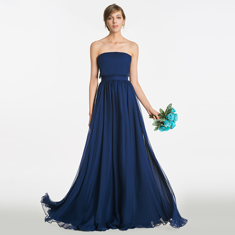 Tanpell strapless long   bridesmaid     dress   dark navy sleeveless floor length a line gown women new wedding party   bridesmaid     dresses