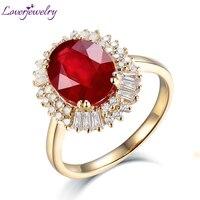 Женские Классические кольца изделия твердых 14Kt желтого золота 3.83ct бриллиант натуральный красный рубин обручальное кольцо для Для женщин О