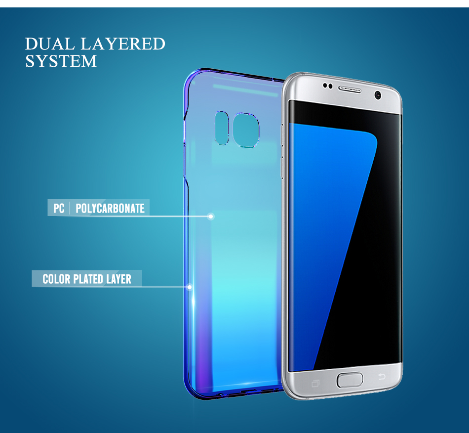FLOVEME Cool Blue Ray Plastic Case For Smausng Galaxy S7 S7 Edge S8 S8 Edge S6 S6 Edge Gradient Color Plated Cover (4)