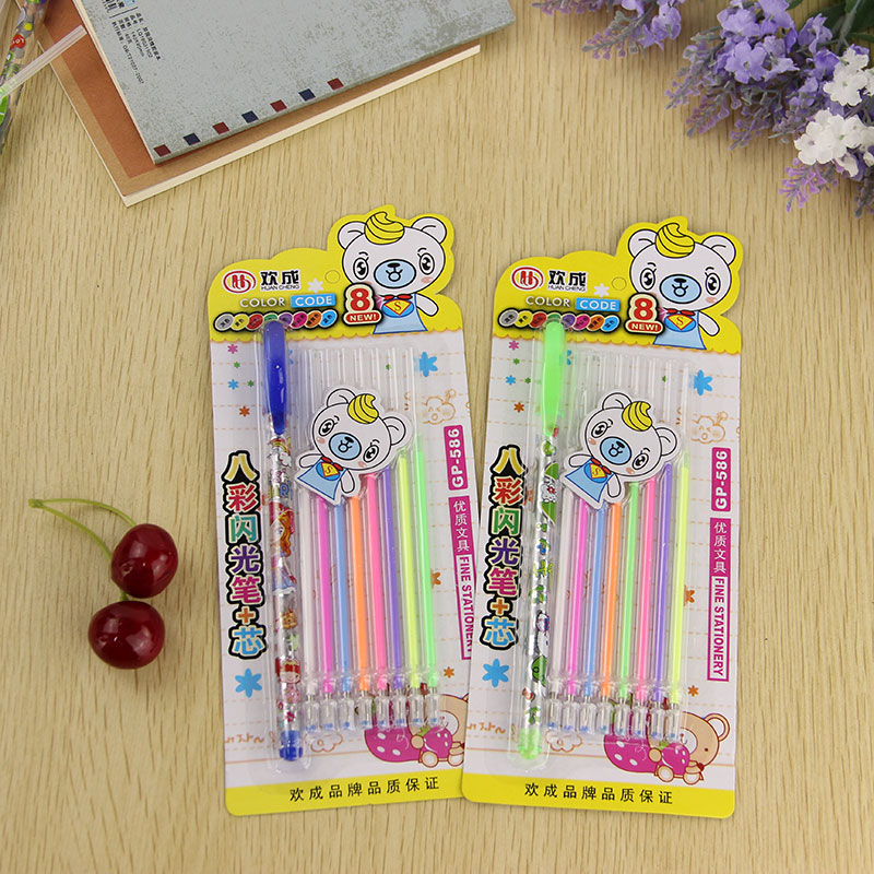 1 Pen and 8 Refill/set Colorful Gel Pen DIY Decoration for Color Pens Set Korean Stationery School Suplies 4pcs set ar school tutule super augmented reality high and new technology teach color for children book colorful