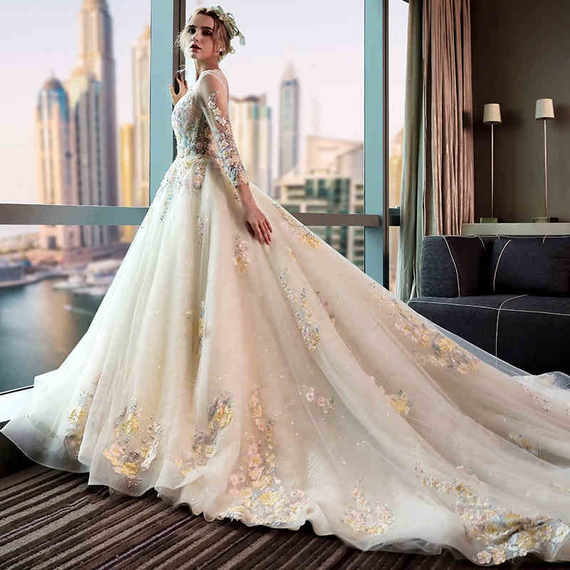 New Famous Design O Neck Beading And Diamond Decoration Sleeveless Puffy Wedding Dresses In From Weddings Events On Aliexpress