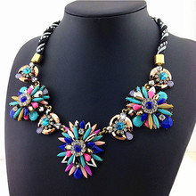 Rianbow Color Resin Stone flower Statement Necklace Charm Alex Necklaces & Pendants 2015 New Fashion Jewelry Necklace For Women