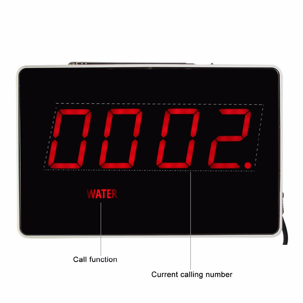 TIVDIO Four-Digit Display Receiver Host Voice Reporting Broadcast for Wireless Restaurant Waiter Calling System 433.92MHz F3303B 2 receivers 60 buzzers wireless restaurant buzzer caller table call calling button waiter pager system