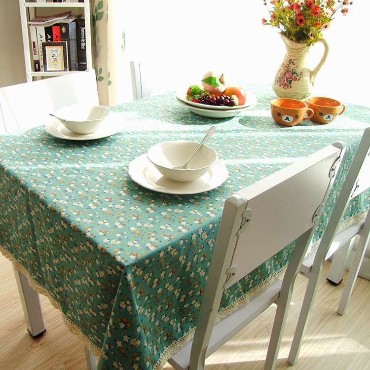 New Listing Fashion Leisure Flower Geometric Religion Dining Table Cloth Cotton Linen Dustproof Tablecloth Dust Tight