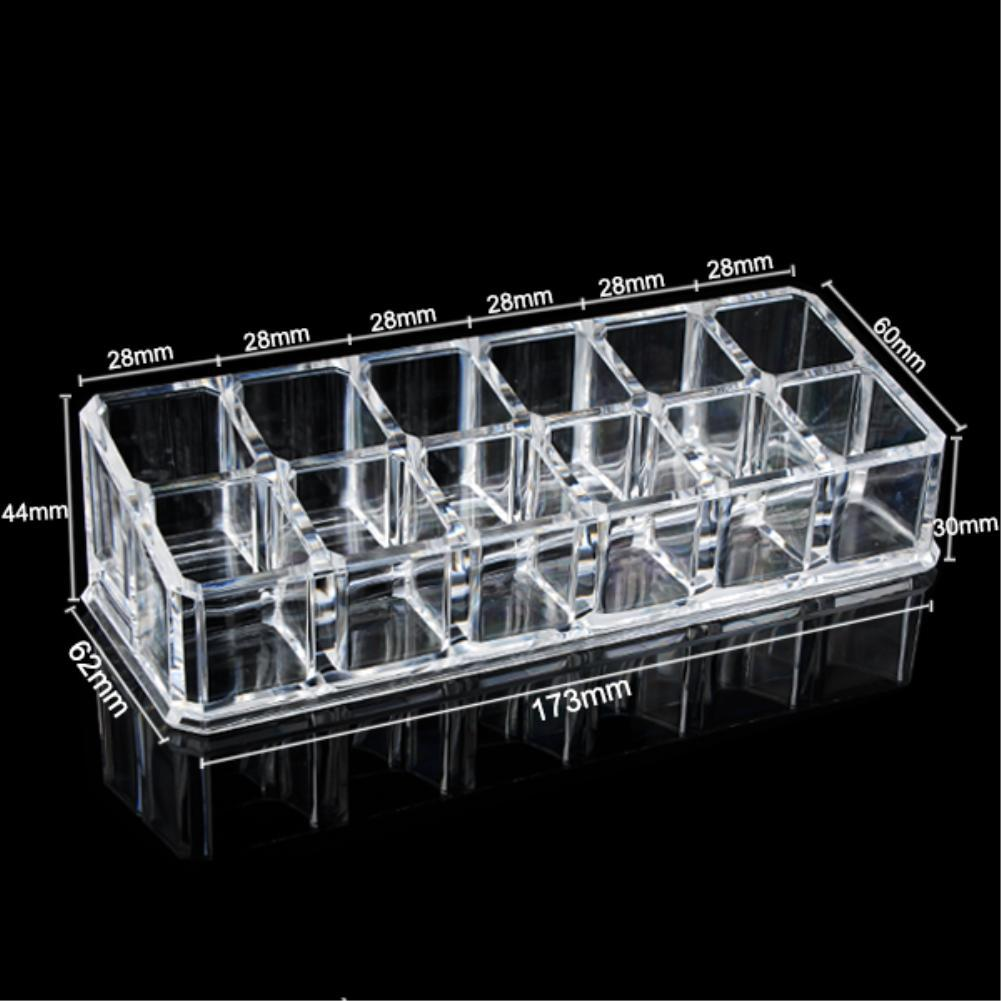 2017 12 Grids Lipstick Case Cosmetic Storage Box Make up Organizer Display Stand Nail Art Container Brand Clear Acrylic EQC374
