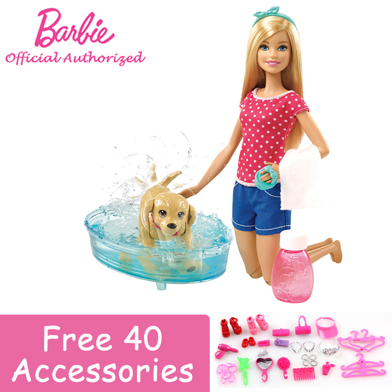Genuine Barbie Girl Brand Funny Toy Doll Pet Washing Bath Lovely Puppy Toy With Pool learning&educational Barbie Doll DGy83 игра для ps3 медиа barbie and her sisters puppy rescue