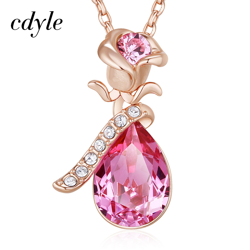 Cdyle Vintage Women Charm Rose Gold Pendants Crystals From Swarovski White Pink Blue Sexy Necklace Gift White Flower New Elegant