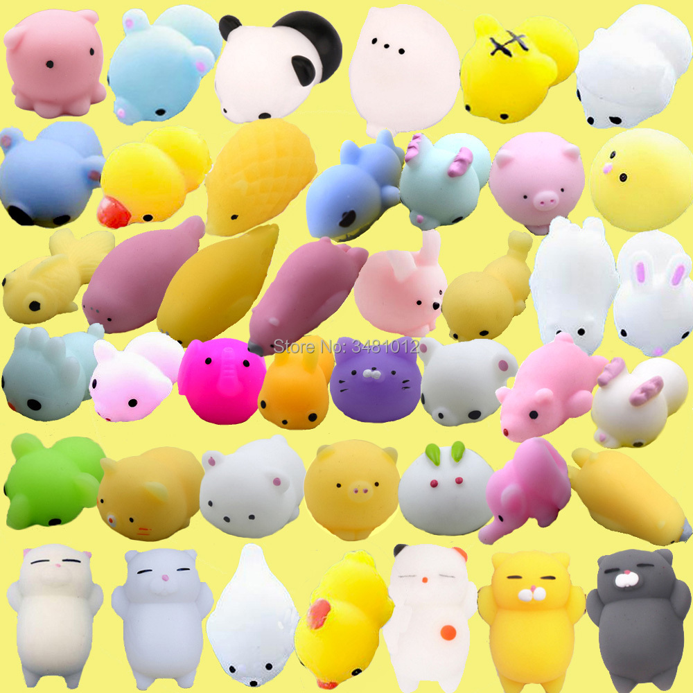 30pcs/pack Kawaii Squishes Mochi Cat Squishy Antistress Soft Rubber Food Animals Squeeze Shark Slow Rising Squishies Funny Toys